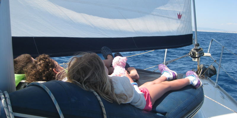 Md 800 sailing with children in the ionian sea