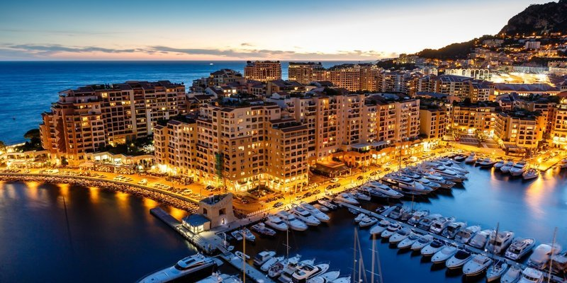 Md 800 fontvieille fontvieille principaut de monaco monaco cte dazur french riviera town sea yacht house buildings night lights